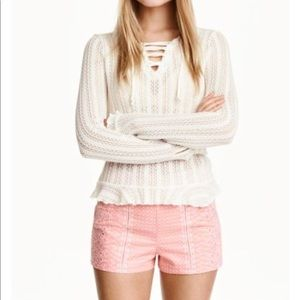 H&M Pink White Embroidered Shorts